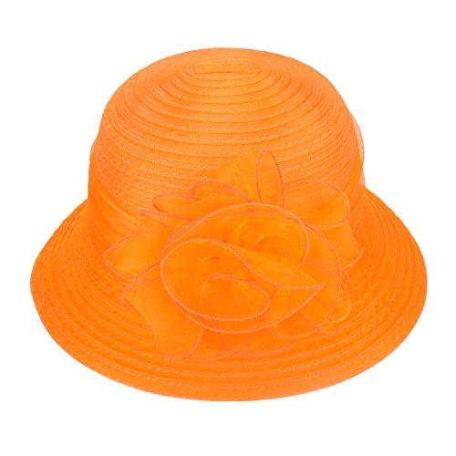 Pure Color 1920s Womens Summer Organza Bowler Sun Hat Derby Tea Party A267 (Orange) -