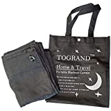 TOGRAND Temporary Portable Blinds Blackout Curtain Shade Adjustable Size with Suction Cups Provide Sleepy Environment at Home or Trip Nap Time for Baby, Kid, Day Sleeper (Black-LINE, 52x72inch,1pc)