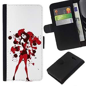 KLONGSHOP // Tirón de la caja Cartera de cuero con ranuras para tarjetas - Sexy Bunny Girl Blanco Rojo Sangre - Sony Xperia M2 //