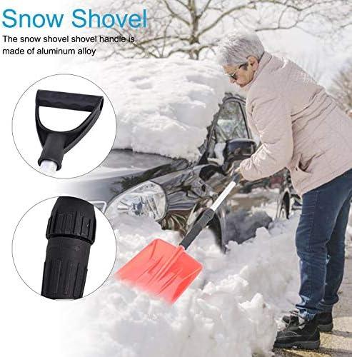 signmeili Winter Snow Ice Shovel Snow Shovel with Telescopic Handle Portable Snow Remover,Skidproof Handle Aluminum Alloy Winter Snow Ice Shovel Outdoor Kit Tool Orange