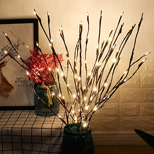 NAWEDA LED Branch Lights Battery Powered Decorative Lights Willow Twig Lighted Branch for Home Decoration Cool White - 20 Inches 20 LED - 2 Pack]()