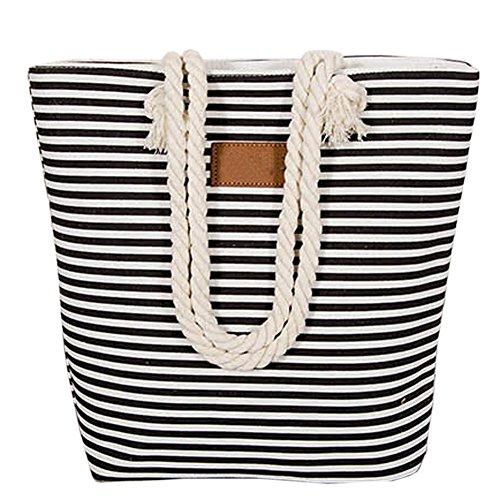 Totalizador rayado de la lona - Landove Mujeres Casuales Playa hombro Bolso de compras de la Shoppers y bolsos de hombro Negro