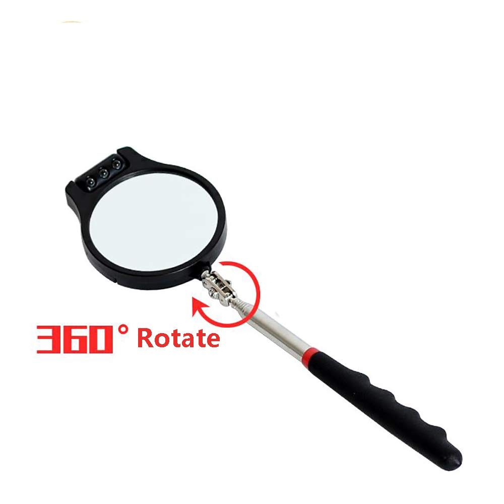 Car Vehicle Bottom LED Light Telescopic Inspection Mirror Amplification Detection Mirror with A Light Automotive Accessories