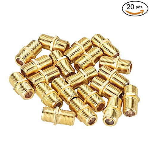 Pasow F Type RG6 Coupler Gold Plated Female to Female Barrel Coaxial Adapter (20pcs)