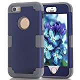 iPhone 5S/SE Case, MCUK [Heavy Duty] [Shock Resistant] [Drop Protection] Hybrid Best Impact Defender Cover Shell Plastic Outer & Rubber Silicone Inner for Apple iPhone 5S/SE (Navy+Grey)