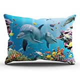 KEIBIKE Pillow Case Ocean Animals Dolphin Pattern Personalized Rectangle Pillowcases Hot Decorative Colorful Throw Pillow Covers Cases King 20x36 Inches