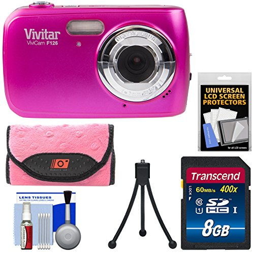 Vivitar ViviCam F126 Digital Camera  with 8GB Card + Case +