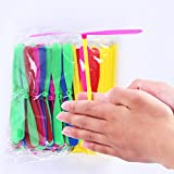 100 Piece Plastic Dragonfly Color Random Plastic Bamboo-copter Bamboo Dragonfly Child Toy Multi-Colored (100)