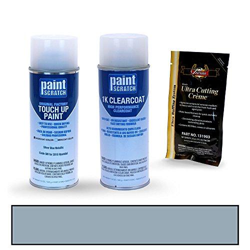 Blue Door Santa Fe (2010 Hyundai Santa Fe Silver Blue Metallic SM Touch Up Paint Spray Can Kit by PaintScratch - Original Factory OEM Automotive Paint - Color Match Guaranteed)