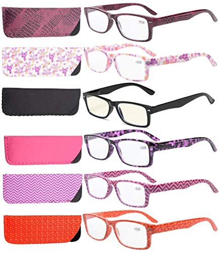 Eyekepper 6-Pack Spring Hinges Patterned Rectangular Reading Glasses Include Computer Readers Women +1.5