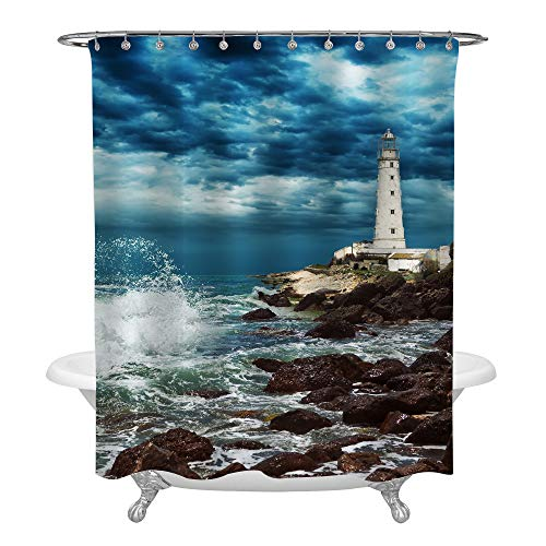 MitoVilla Big Ocean Wave Breaking The Rock Near White Lighthouse Bathtub Decor, Stormy Sky and Dark Cloud Image, Seaside Shower Curtain Set with Hooks, No Liner Needed, 72 W by 72 L