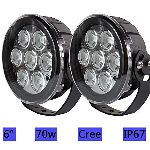 (2pcs 6inch 70W Cree Led Work light Spot Round Led Driving Light with 10W Cree Chip High Brightness for Jeep Ford F150 F250 SUV Pickup Truck Off-Road Front Bumper Lamp Roof DT 12V 24V)