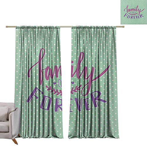berrly Blackout Window Curtain Panel Family,Classical Polka Dots Background Creative Lettering Quote About Family, Purple Violet Mint Green W108 x L84 Tie Up Shades Rod Blackout Curtains
