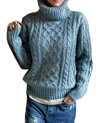 e Loose Turtleneck Twist Pullover Knit Sweater Sky Blue One Size (Cashmere Petite Turtleneck)
