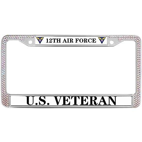 Amazon.com: GND Bling License Plate Frame for Car US Veteran USAF ...