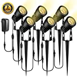 ALOVECO Upgrade LED Landscape Lights with Transformer 12V Waterproof Garden Pathway Lights Warm White Walls Trees Flags Outdoor Spotlights with Spike Stand (6 Pack)