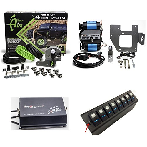 - Up Down Air 22-7810/69-0717 Air It Up 4 Tire On Board Air Delivery w/ARB CKMTA12 Compressor & sPOD 8-600-0915-LED-G All Green 8 Circuit SE System for 09-17 Wrangler JK