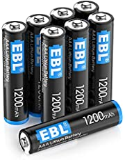 EBL AAA 1200mAh Lithium Metal Batteries (8 Pack), 1.5V Disposable Lithium AAA Batteries-High Performance, Constant Volt, Long Lasting Power(Non-Rechargeable)