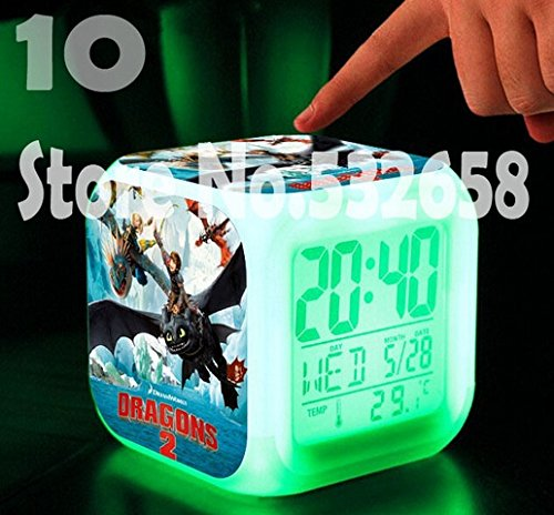 How to Train Your Dragon Alarm Clock Digital Action Toy Figures Thermometer Night Colorful Glowing Toys (Style 10)