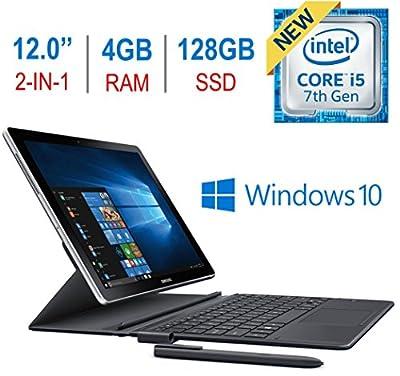 "Newest Samsung Galaxy Book 2-in-1 12"" Touchscreen Super AMOLED (2160x1440) Display Tablet/PC, 7th Gen Intel i5-7200u 2.5GHz Processor, 4GB RAM, 128GB SSD, Bluetooth, Keyboard, S Pen, Windows 10"