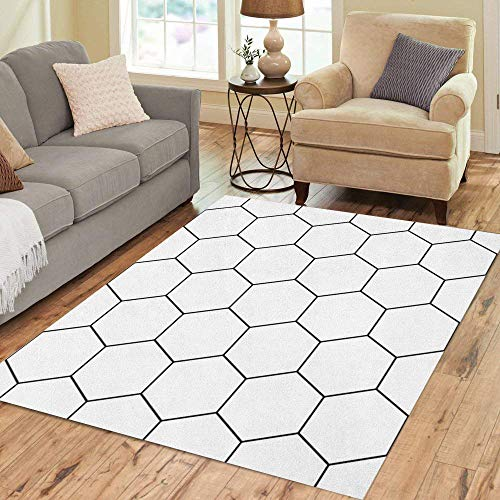 Pinbeam Area Rug Modern Geometry Pattern Hexagon Black and White Abstract Home Decor Floor Rug 2' x 3' Carpet