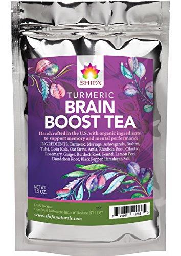 Shifa Brain Boost Tea With Turmeric: Rejuvenating Tonic Enhances Memory, Focus and Mood with Herbs, Phytonutrients and Antioxidants - 1.5 oz. ()