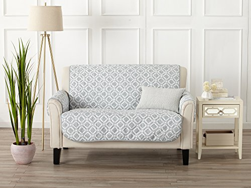 Modern Printed Reversible Stain Resistant Furniture Protector with Geometric Design. Perfect Cover for Pets and Kids. Adjustable Elastic Straps Included. Liliana Collection (Loveseat, Storm Grey)