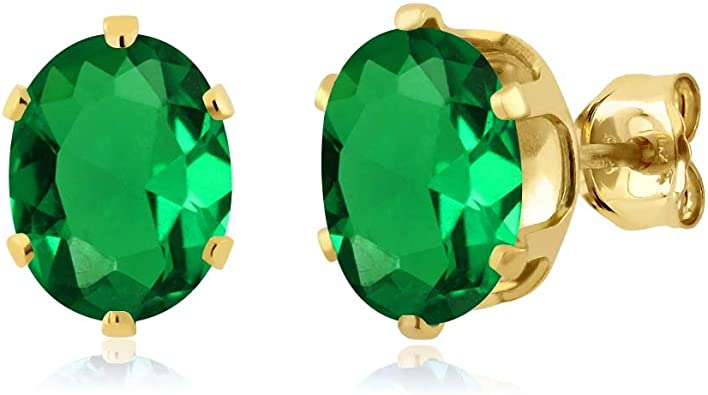 Gem Stone King 2.00 Ct Oval 8x6mm Green Simulated Emerald 14K White Gold Stud Earrings