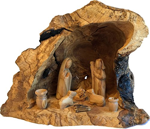 (Holy Land Market Unique Olive Wood Nativity Set with Carved in by Hand Rustic Stable - no Two Alike - Large)