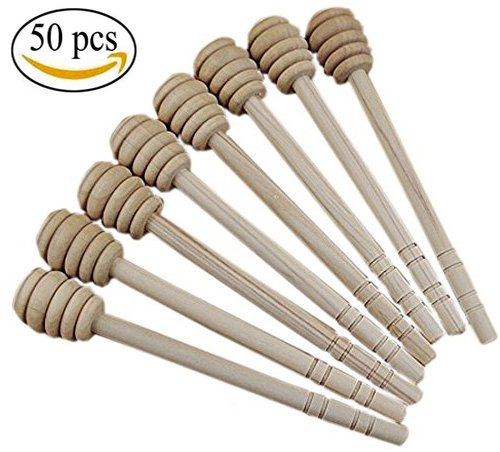 Pack of 50 Pieces 6 Inch Wood Honey Dipper tick Spoon Dip