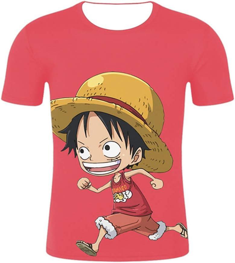Una Pieza HZW118 Sombrero De Copa Luffy Impresión Manga Corta Camiseta Camisa De Entrenamiento Camisa 3D Suéter COS Poliéster Otoño Invierno,SBUST:100: Amazon.es: Hogar