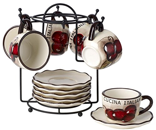 Cucina Italiana Ceramic Espresso Coffee Cups and Saucers 13 Pc Set 2 Oz. with Metal Rack, Cherry Décor