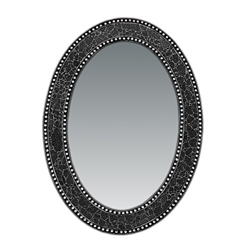 32.5 in. x 24.5 in. Decorative Wall Mirror, Oval Frame, Colorful Crackled Glass Mosaic Decorative Wall Mirror, Vanity Mirror, Powder Room Mirror in Jewel Tone Colors by DecorShore (Black / Gray)