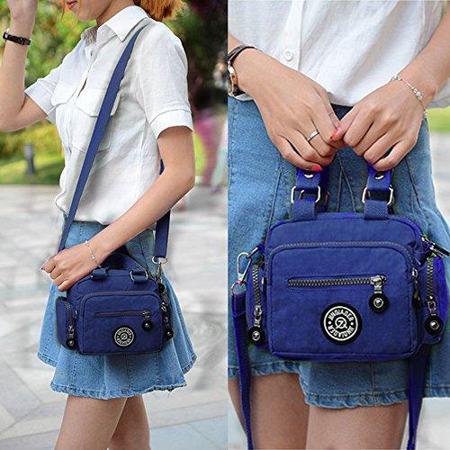 TOYOOSKY Bolsa de nylón impermeable multi-Pockets Bolso bandolera pequeño Bolsa de ocio Bolsa de mujer color azul oscuro