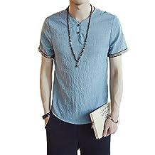 Honghu Men's Fitting Basic Solid Color Retro Linen Polo Tees T-Shirt Plus Size