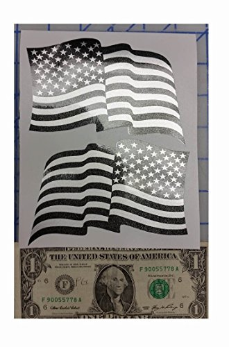 (I Make DecalsTM - Waving Larger Ghosted US American subdued flag, silver with ghosted black print, 3.3 X 5
