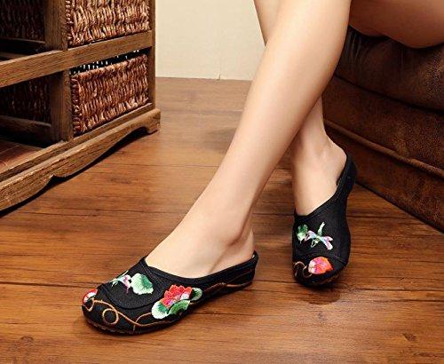 WXT Zapatos bordados finos, lenguado del tendón, estilo étnico, flip flop femenino, manera, cómodo, sandalias Black