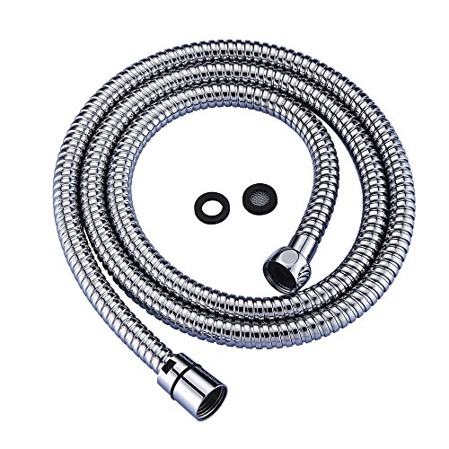 Purelux Stainless Steel Shower Hose Universal Replacement 59 Inch (411) Double lock High Flexible Shower Hose with Brass Fittings, Chrome Finish