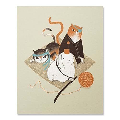 Amazon.com: Samurai Cats and Rabbit Art Print Cute Ninja