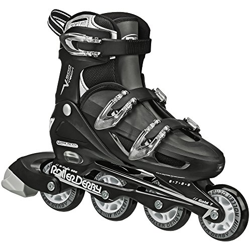 Roller Derby Boy's V-Tech 500 Button Adjustable Inline Skate, Black/White, Size 6-9 (Boys In Line Skates)