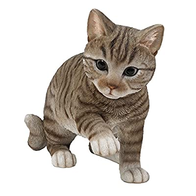 Realistic Grey Tabby Cat Kitten Collectible Figurine Amazing Detailed Glass Eyes Hand Painted Resin Life Size 10 inch Shorthair Figurine Perfect for Cat Lover Collectible