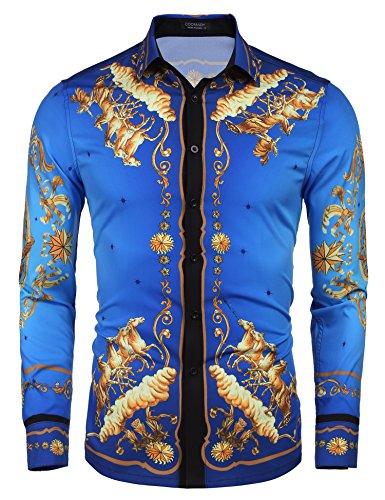 (COOFANDY Men's Long Sleeve Luxury Print Dress Shirt Graphic Button Down Shirt (Dark Blue(Horse Pattern), XX) )