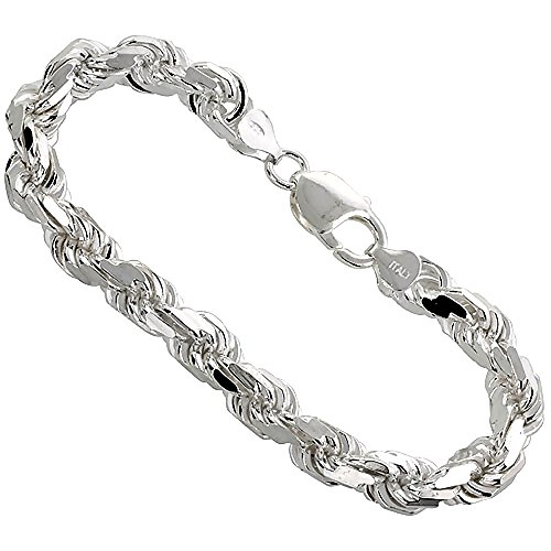Thick Rope Bracelet (Sterling Silver Very Thick Rope Chain Bracelet 7mm Diamond-cut Handmade Nickel Free Italy 9 inch)