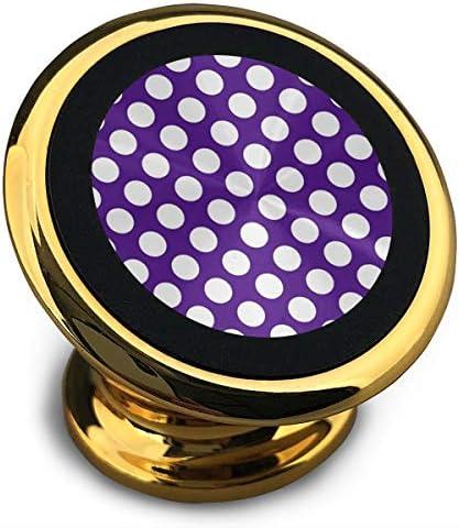 紫の水玉 携帯電話ホルダー おしゃれ 車載ホルダー 人気 磁気ホルダー 大きな吸引力 サポートフレーム 落下防止 360度回転