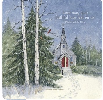 Legacy Publishing Group Seasonal Coasters, Church in The Pines, 12-Count CST48340