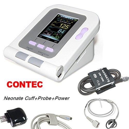 CONTEC08A FDA Approved Fully Automatic Digital Upper Arm Blood Pressure Monitor Adult, Child, Pediatric Modes & Cuffs,SW,Sphygmomanometer ..., (Neonatal Cuff & spo2 Probe & AC Power)