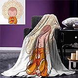 smallbeefly Mandala Digital Printing Blanket Meditation Theme Cartoon Baby Monk Meditating on The White Background Print Summer Quilt Comforter 80''x60'' White Orange