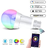 Smart Bulb, Alexa Wifi Led Light Bulb Made From Aluminum Alloy, 7W B22 RGB Dimmable Multicolored Lamp Works with Alexa, Google Home and Ifttt, 60W Equivalent, Timing Function, Remote Controlled by IOS/Android Devices, No Hub Required (B22-1pack)