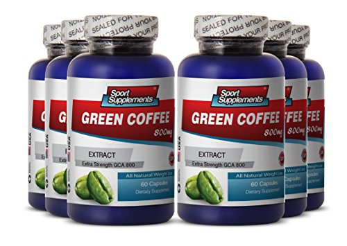 Green Coffee Bean Extract Raspberry Ketones with Carcinia - Green Coffee Extract 800mg - Herbal Green Coffee Bean Extract to Promote Natural Weight Loss (6 Bottles 360 Capsules) by Sport Supplement