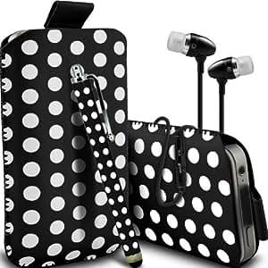 Samsung Galaxy Express 2 Protección Premium Polka PU ficha de extracción Slip In Pouch Pocket Cordón piel cubierta de la caja de liberación rápida, Polka Stylus Pen & Calidad superior en auriculares de botón estéreo de manos libres de auriculares Auriculares con micrófono Mic y On-Off Botón Blanco y Negro por Spyrox
